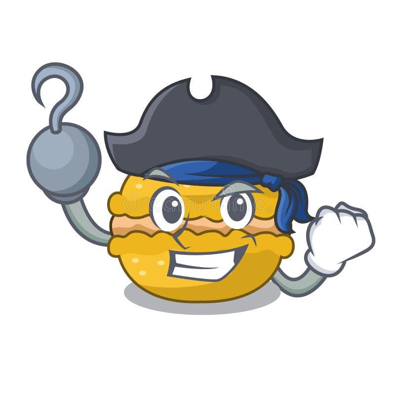 Macarons de banane de pirate d'isolement sur une mascotte illustration stock