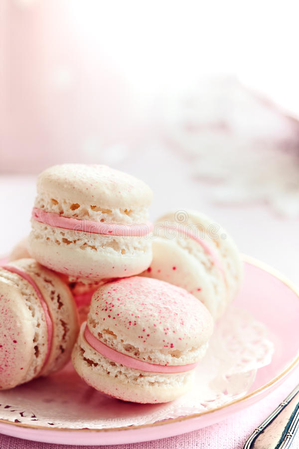 Macarons de la fresa fotografía de archivo libre de regalías