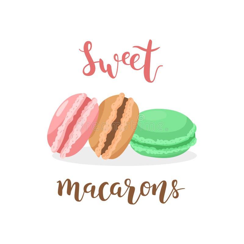 Macarons dulces Vector el ejemplo con las letras aisladas en el fondo blanco ilustración del vector