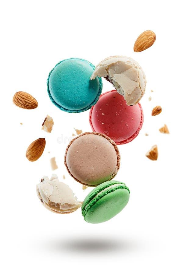 Macarons francesi con le mandorle fotografia stock