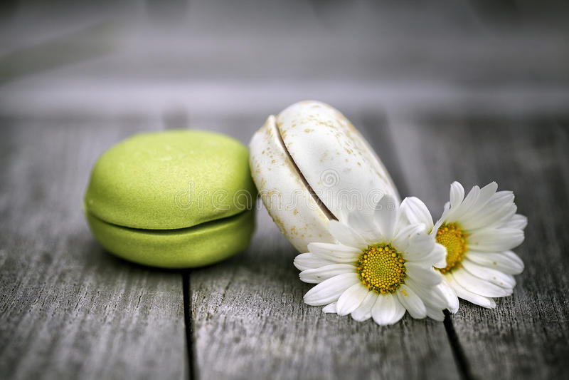 Macarons med Daisy Flowers på den lantliga trätabellen royaltyfria bilder