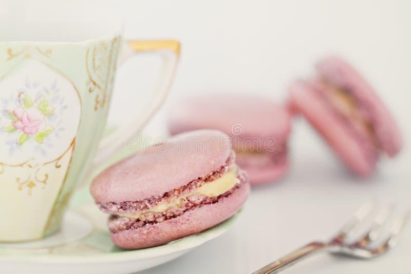 Macarons och tea fotografering för bildbyråer