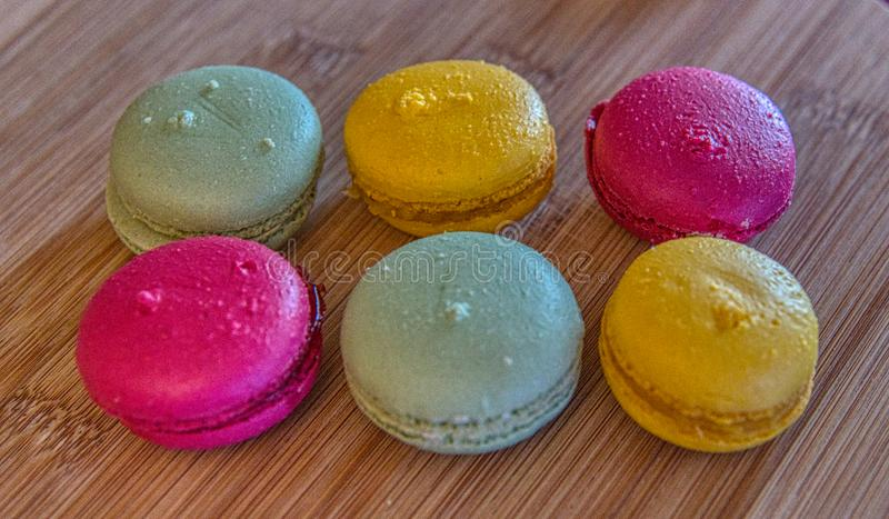 Macarons.Rectangular Plate of Colorful Macarons. royalty free stock image