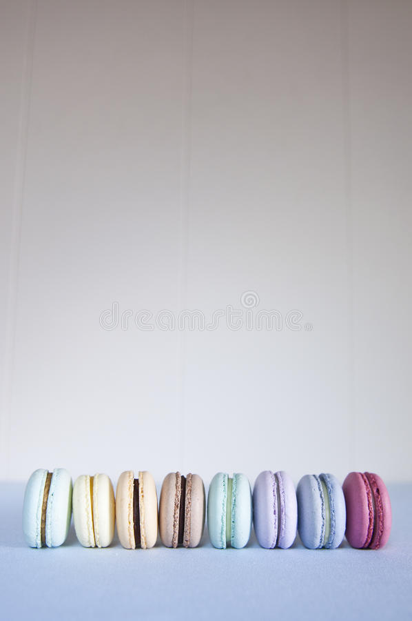 Macarons in a row. royalty free stock images