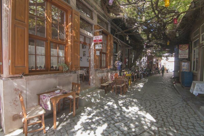 Macaronstraat in Ayvalik royalty-vrije stock afbeelding