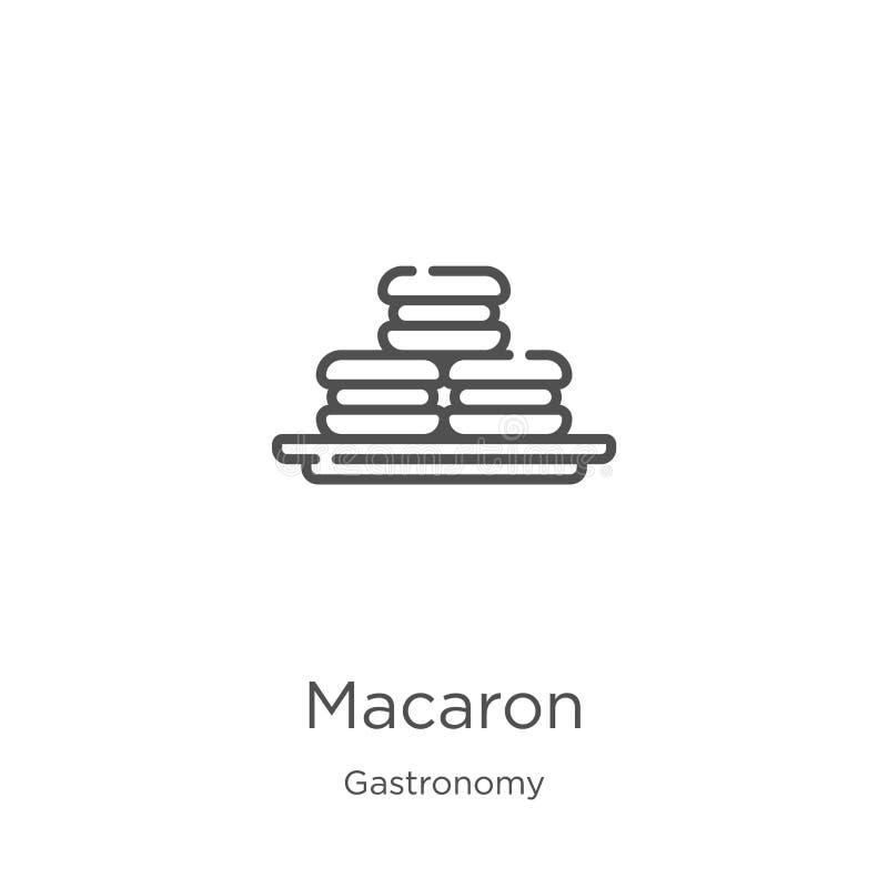 macaronsymbolsvektor från gastronomisamling Tunn linje illustration för vektor för macaronöversiktssymbol Översikt tunn linje mac royaltyfri illustrationer