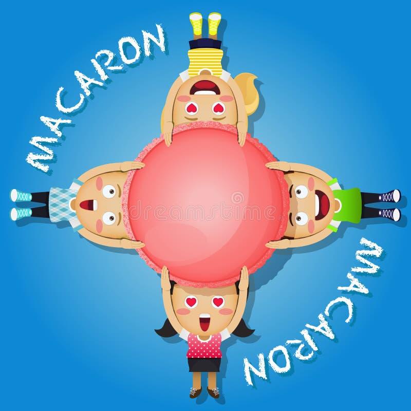 Macaroon нося или macaron счастливых людей иллюстрация штока