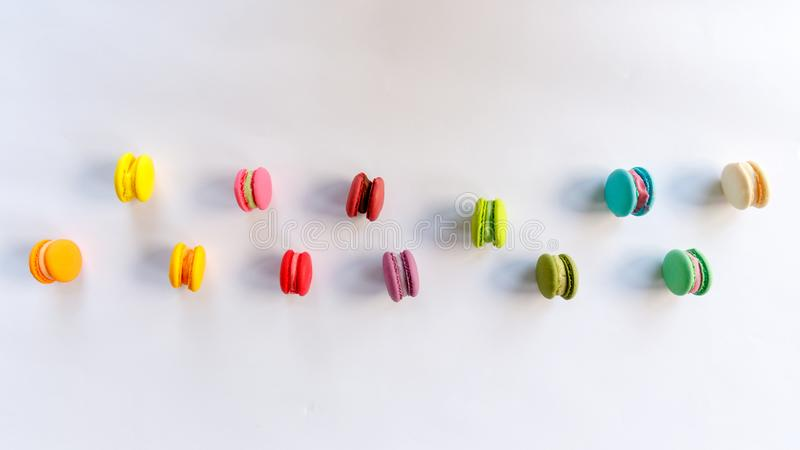 Macaroon, Cake Macaron on White Background from Above royalty free stock photography