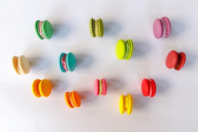 Macaroon, Cake Macaron on White Background from Above stock images