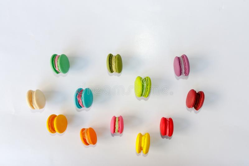 Macaroon, Cake Macaron on White Background from Above royalty free stock image