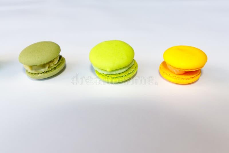 Macaroon, Cake Macaron on White Background from Above royalty free stock photo