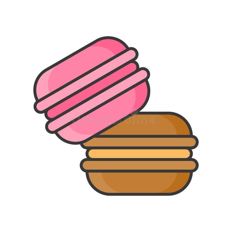 Macaroon cukierki i ciasto set, wypełniał kontur ikonę royalty ilustracja