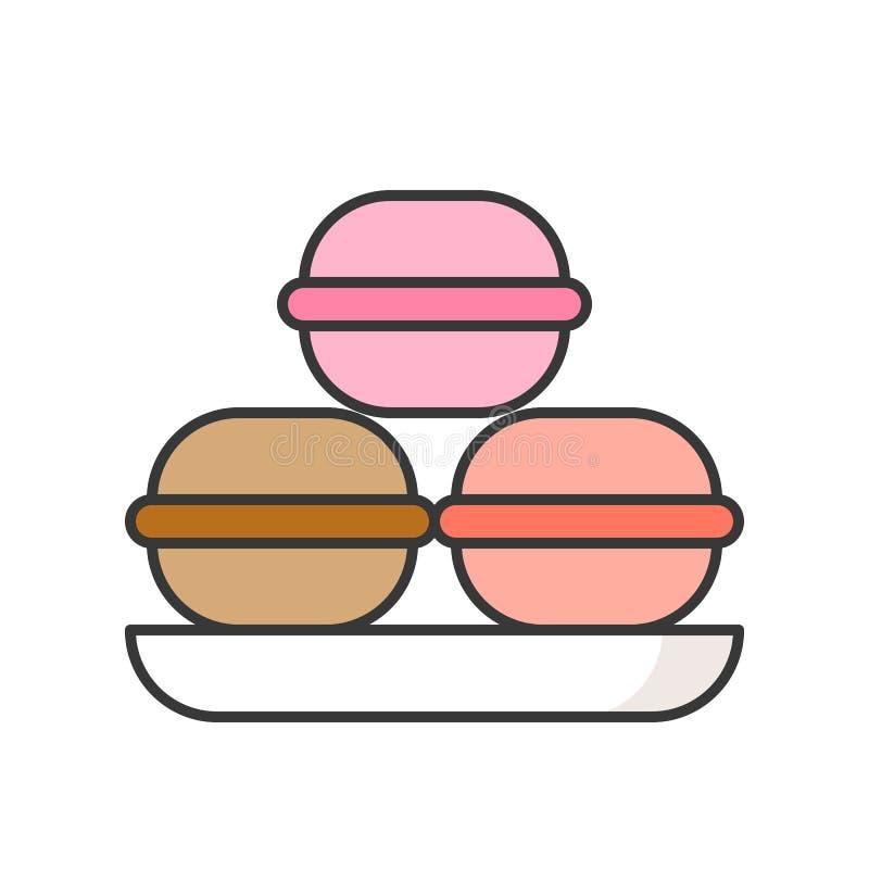 Macaroon cukierki i ciasto set, wypełniał kontur ikonę ilustracji