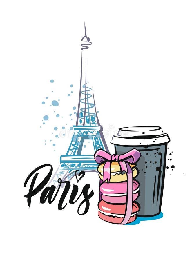 Macaroon i kawa w Paryż royalty ilustracja
