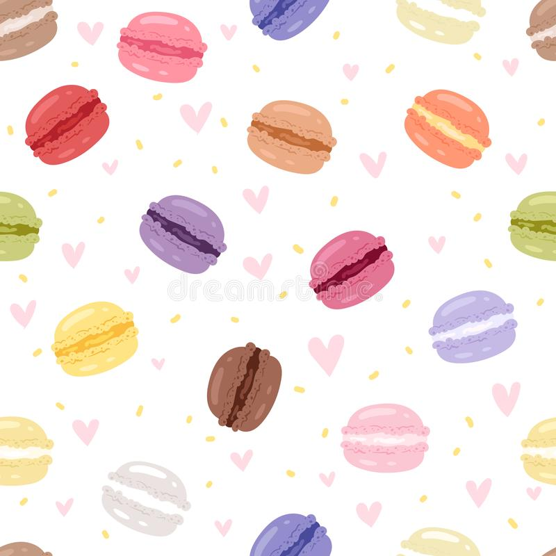 Macaroon s других цветов вкусного торта Macarons установленный с предпосылкой картины иллюстрации вектора плодоовощ безшовной иллюстрация вектора