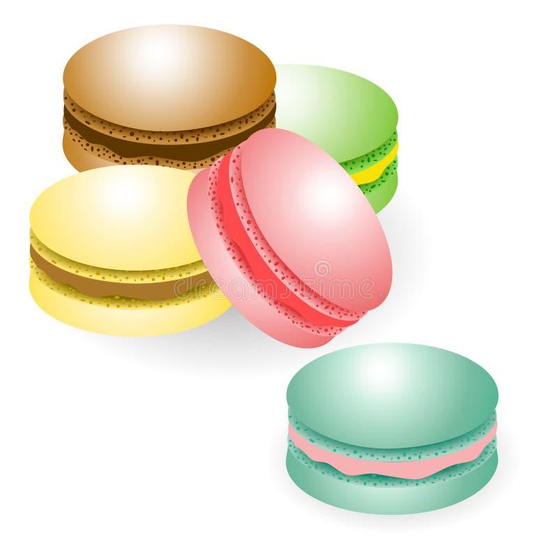Macaroons μπισκότα που απομονώνονται στο άσπρο υπόβαθρο ελεύθερη απεικόνιση δικαιώματος