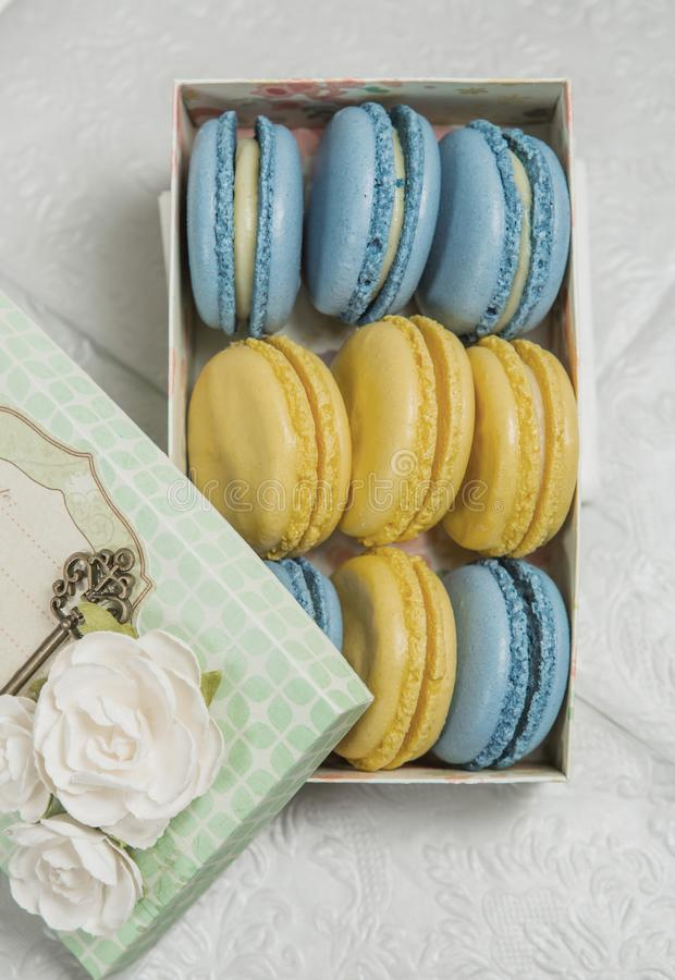 Macaroons as a gift in a close-up box royalty free stock photography