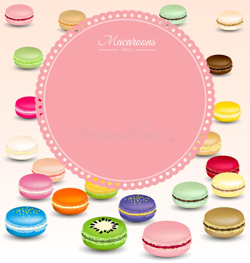 Download Macaroons Background And Sweet Pink Frame Stock Vector - Image: 42861684