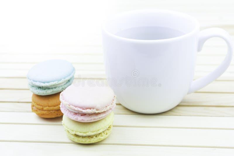 Macaroons with coffee o stock photo