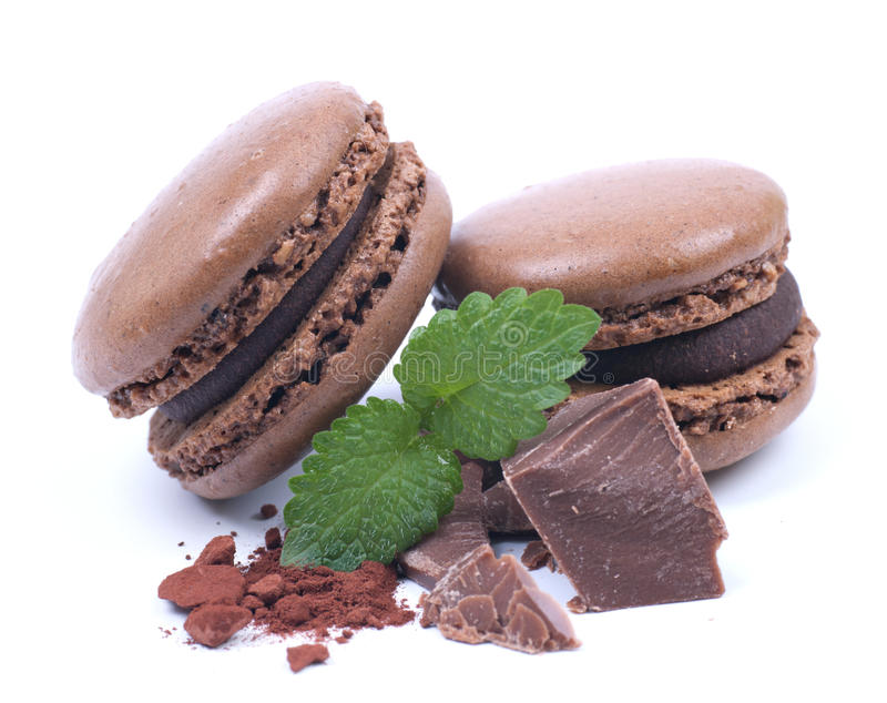Macaroons com chocolate imagem de stock royalty free