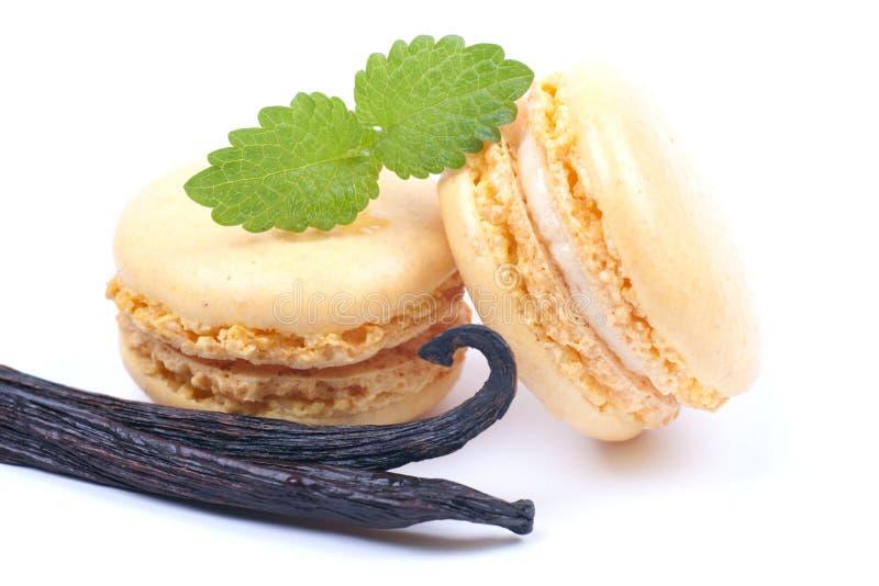Macaroons com feijões de baunilha imagem de stock