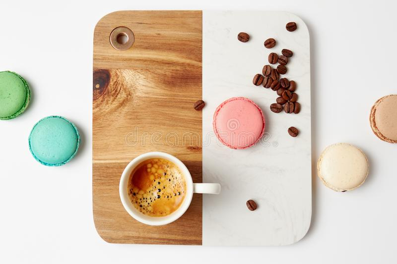 Macaroons and a cup of coffee stock image