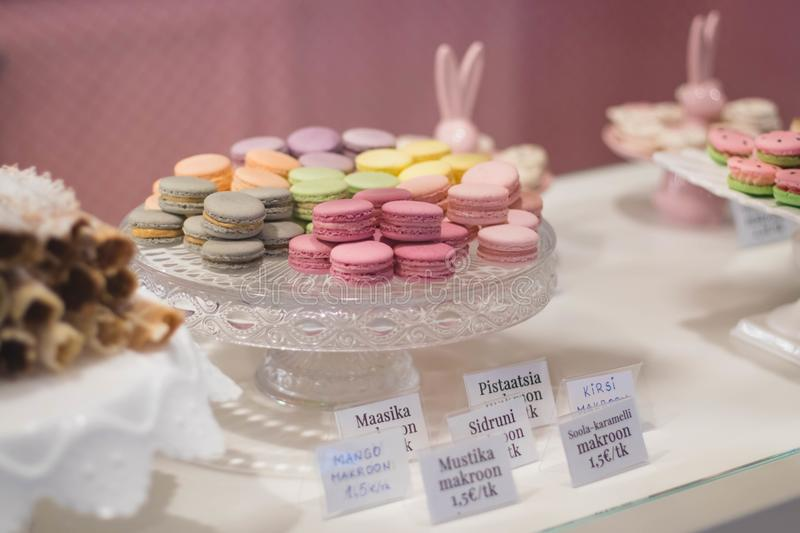 Macaroons On Cut Glass Tray stock image