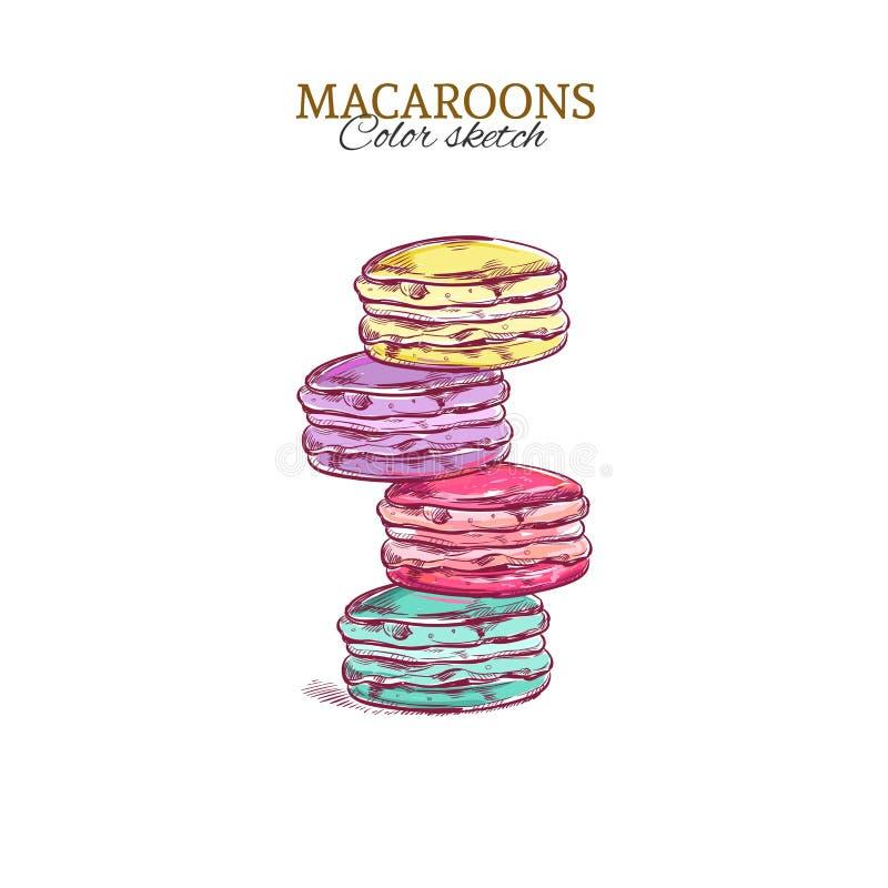 macaroons färgrikt Tecknad illustration för vektor hand royaltyfri illustrationer