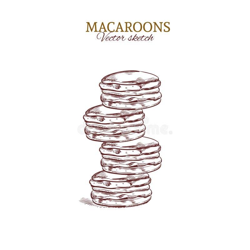macaroons färgrikt Tecknad illustration för vektor hand Begrepp för bageri royaltyfri illustrationer