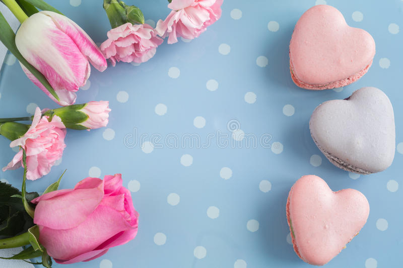 Macaroons in a heart shape stock photography