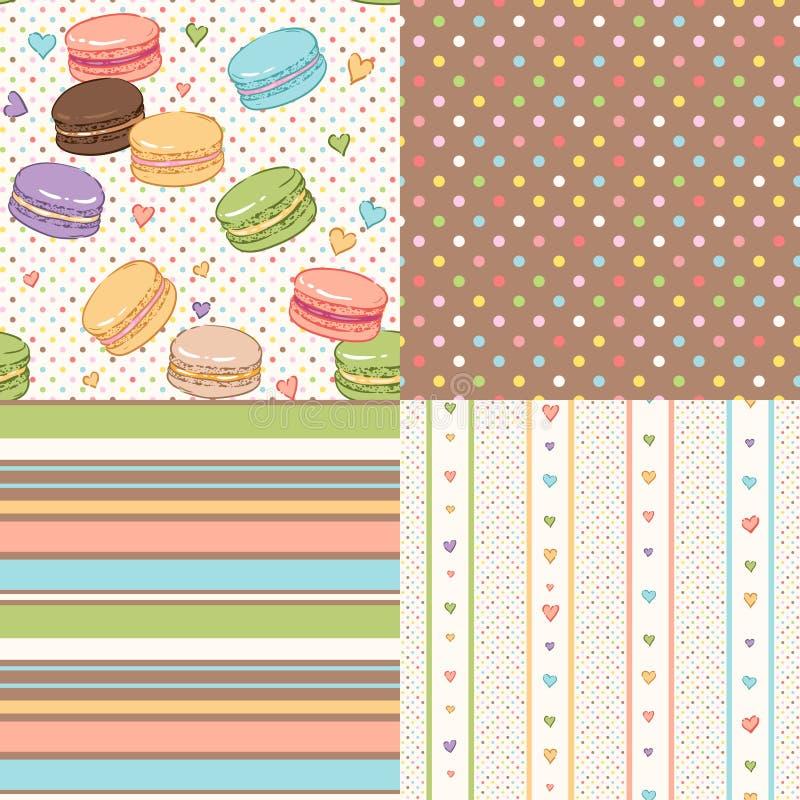 Macaroons patterns set royalty free illustration