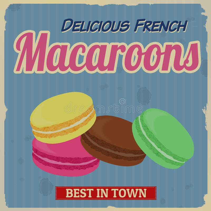 Macaroons retro poster stock illustration