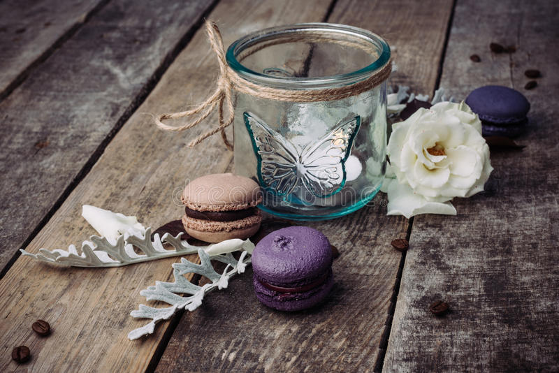 Macaroons on vintage background royalty free stock photos