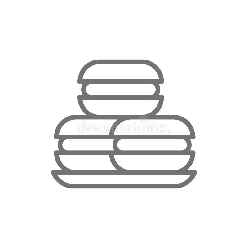 Macarrones, macarons, tortas, línea dulce icono de la panadería libre illustration