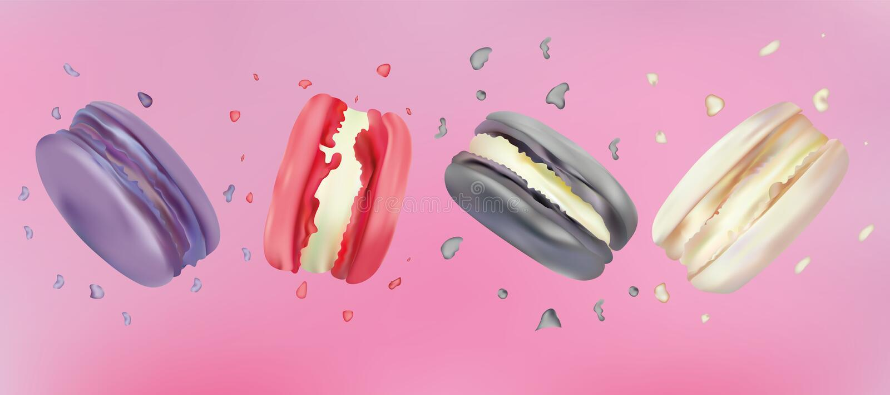 macarrones realistas 3d en fondo rosado Dulce francés colorido determinado en el movimiento Macarrones franceses de Differend fal libre illustration