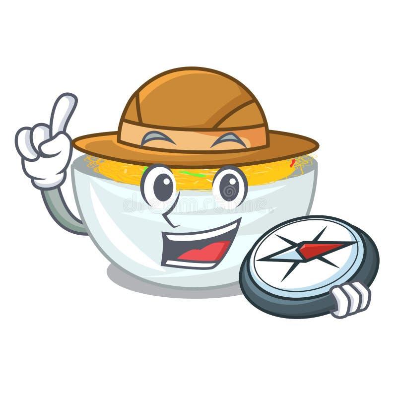 Macarronetes de Fried do explorador servidos na bandeja dos desenhos animados ilustração royalty free