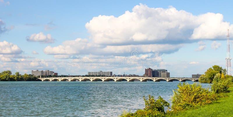 MacArthur Bridge viewed from Belle Isle. stock photo
