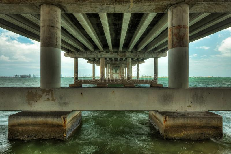 MacArthur Causeway Bridge Miami royalty free stock images