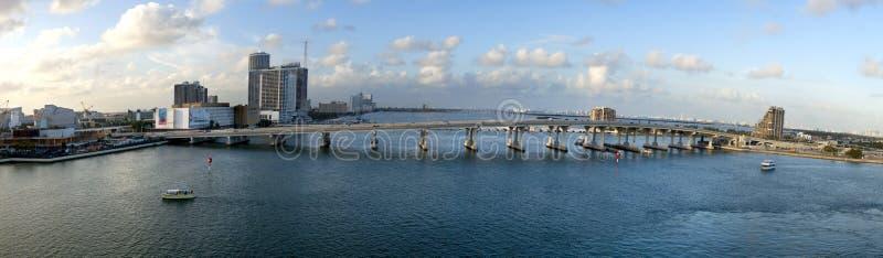MacArthur Causeway Bridge (panoramic) stock photos