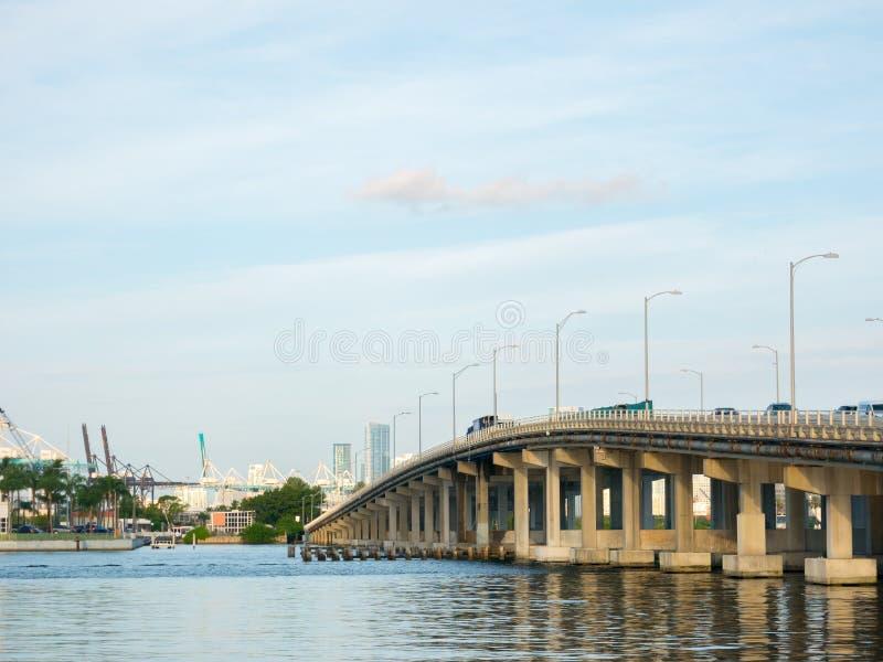 Macarthur Causeway Bridge in South Beach, Biscayne Bay, Miami stock image