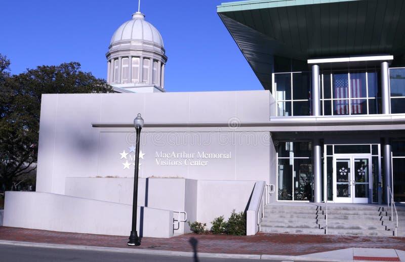 The MacArthur Memorial Museum Center in Norfolk, Virginia. Front of the MacArthur Memorial Museum and Military Center in Downtown Norfolk Virginia, dedicated to stock photos