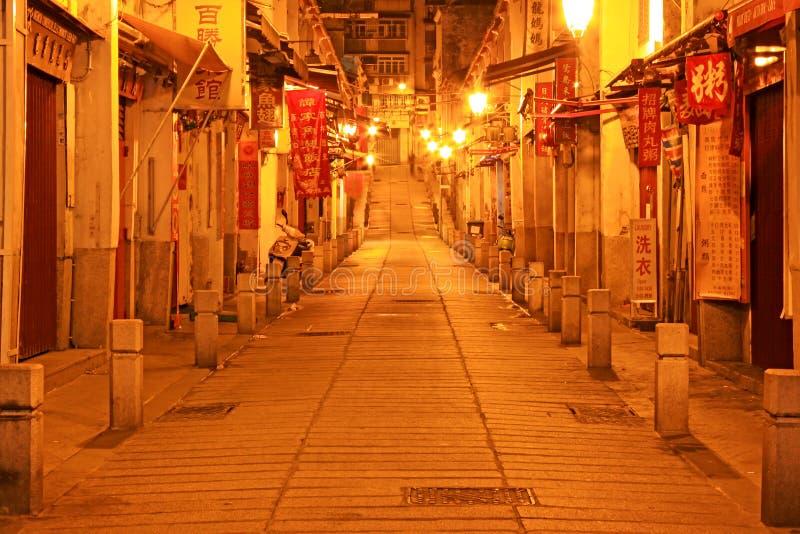 Macau Ancient Street At Night, Macau, China stock image
