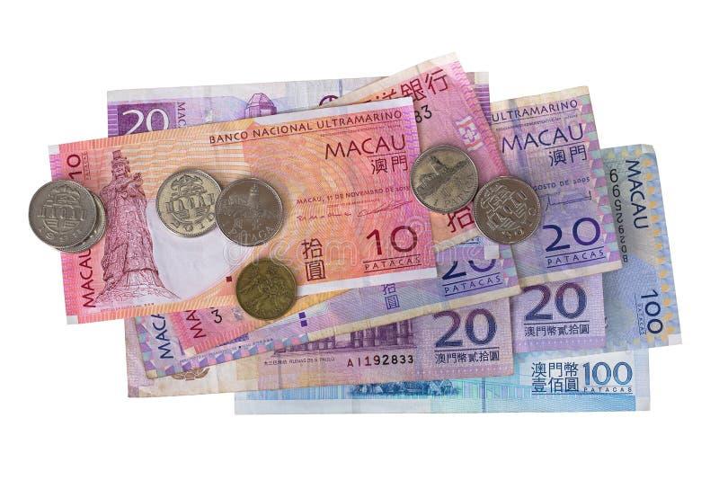 Macau banknoty ukuwają nazwę pieniądze, Macanese Pataca kwacz, 10 20 100 są obrazy stock