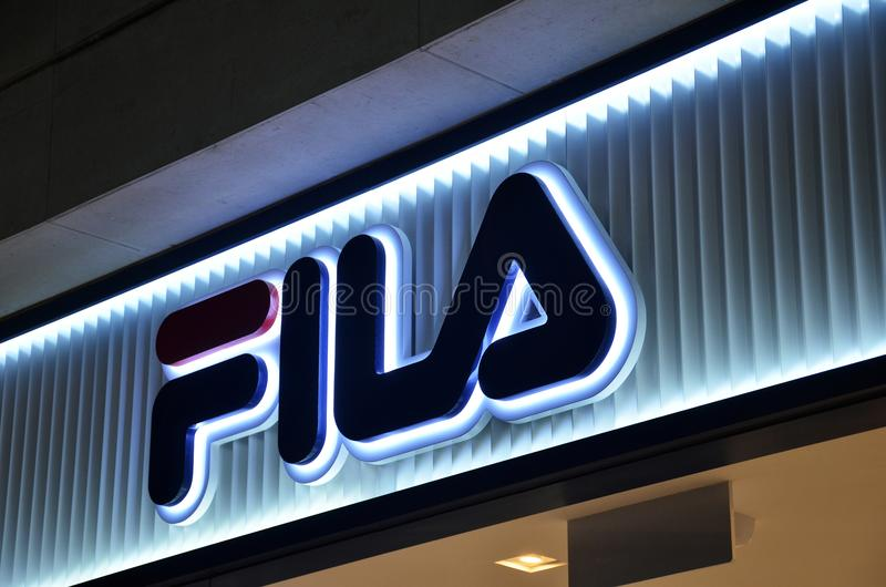 FILA shop at one of the casino in Macau. MACAU, CHINA- 07 APR, 2018: FILA shop at one of the casino in Macau. FILA was created by the Fila brothers in 1909 royalty free stock image