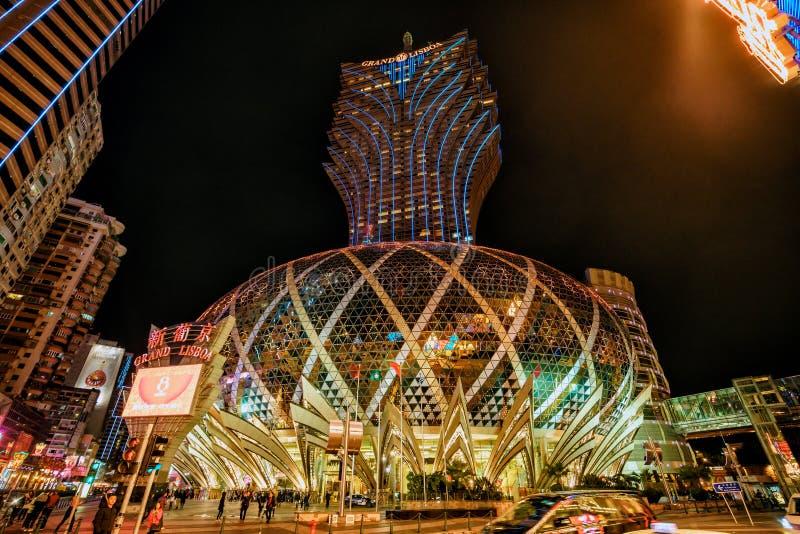 MACAU, CHINA - JANUARY 24, 2016: Grand Lisboa Hotel in Macau stock photo