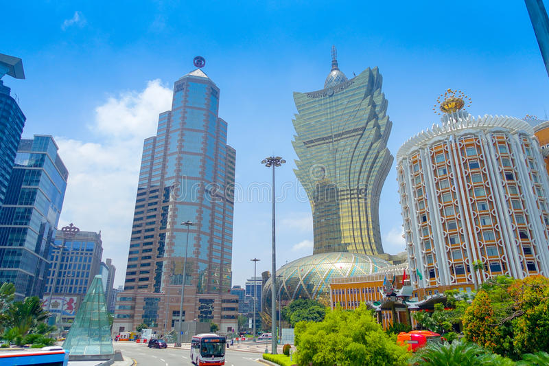 MACAU, CHINA- MAY 11, 2017: Beautiful and iconic hotel Grand Lisboa is a very big hotel and restaurant, also the oldest stock images
