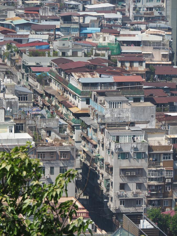 A sea of apartment buildings illustrate a good picture of the densely populated Macau stock photography