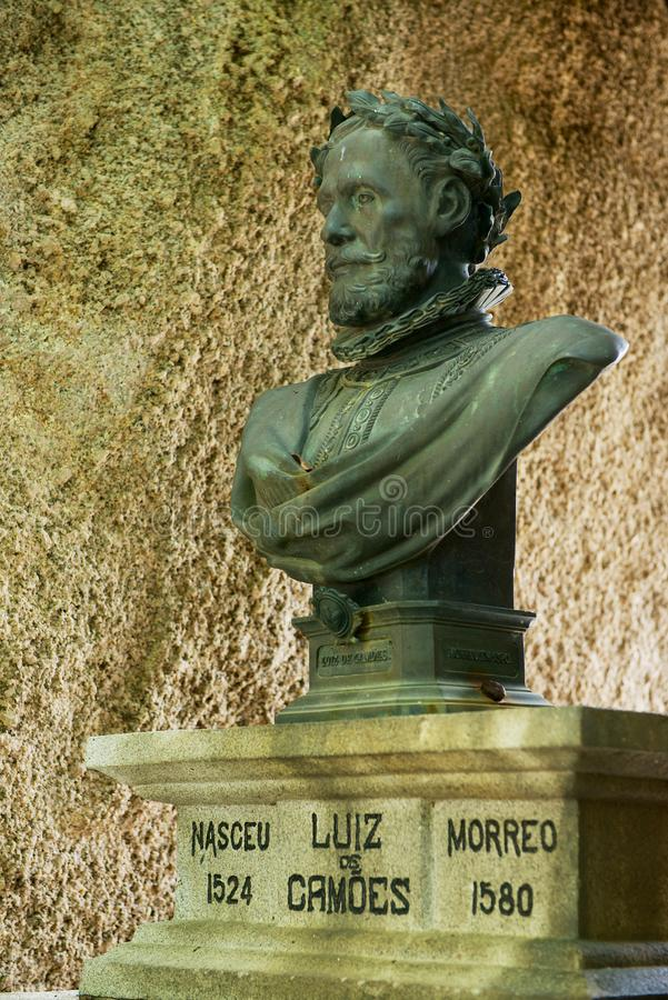 Bust of the 16th century Portuguese poet Luiz Camoes in Macau, China. stock photo
