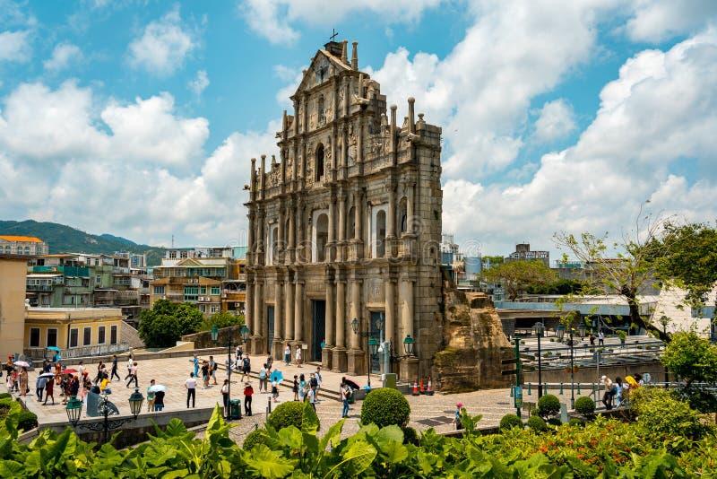 Macau Chiny, Apr, - 23, 2019: Ruiny St Paul obraz royalty free