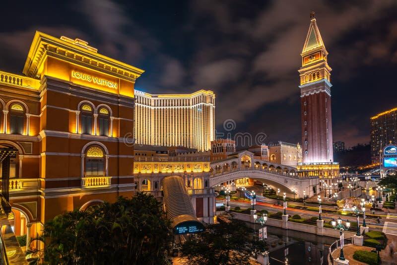 Macau Chiny, Apr, - 23, 2019: Wenecki kasyno i hotel obrazy stock